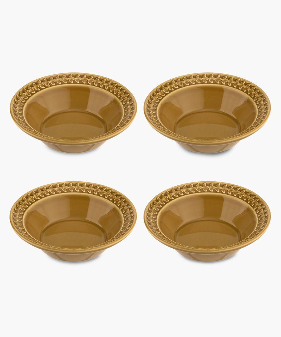 4pc Botanic Garden Harmony amber cereal bowl set