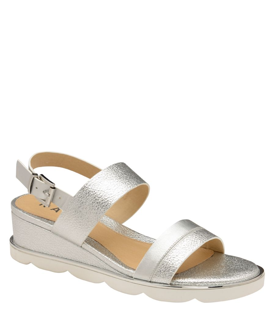 Silver-tone wedge sandals