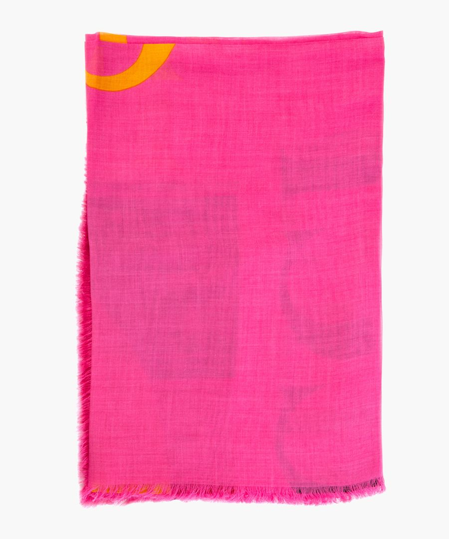 Logo print modal-silk blend shawl