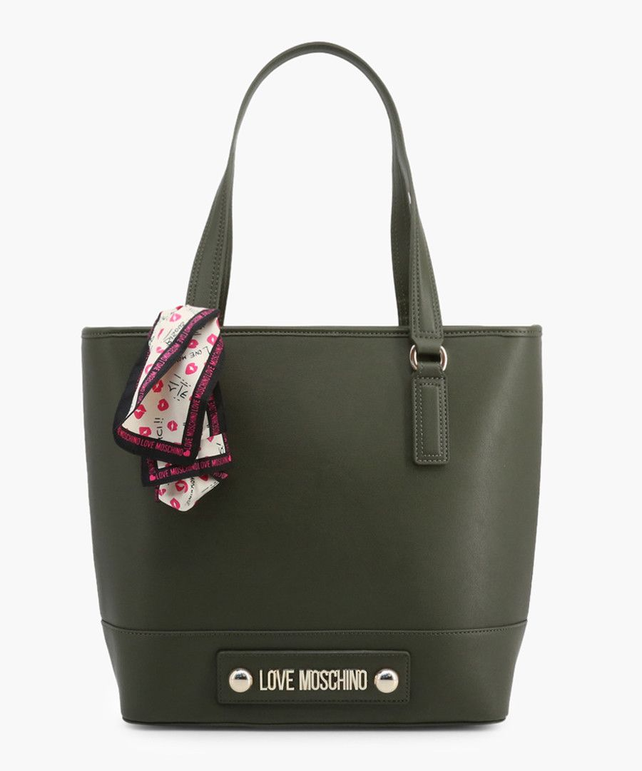 Green faux-leather grab bag