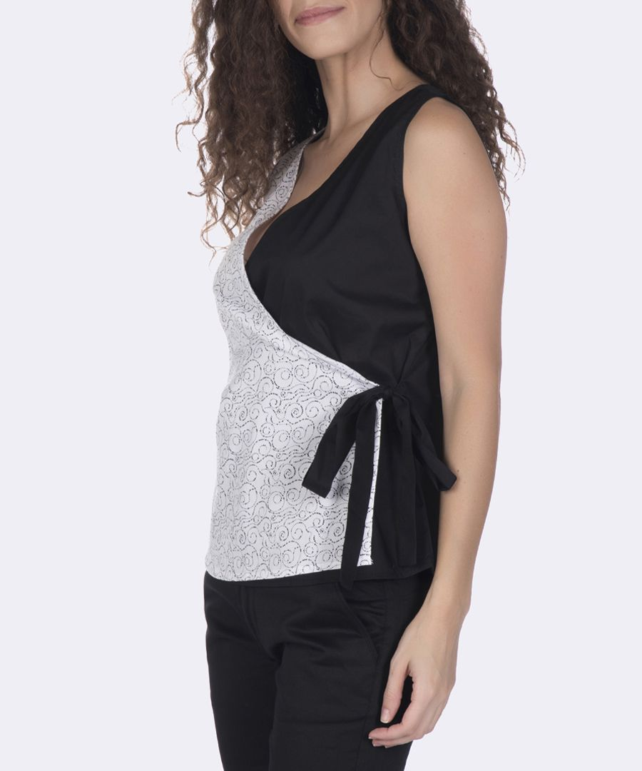 Black and white pure cotton wrap top
