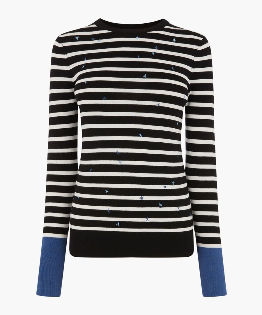 Black stripe star embroidered jumper
