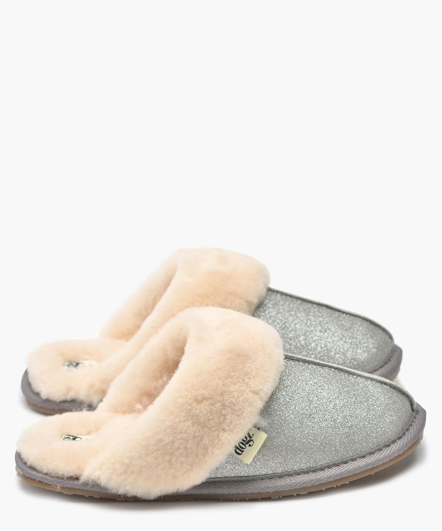 Gracie silver shearling slippers