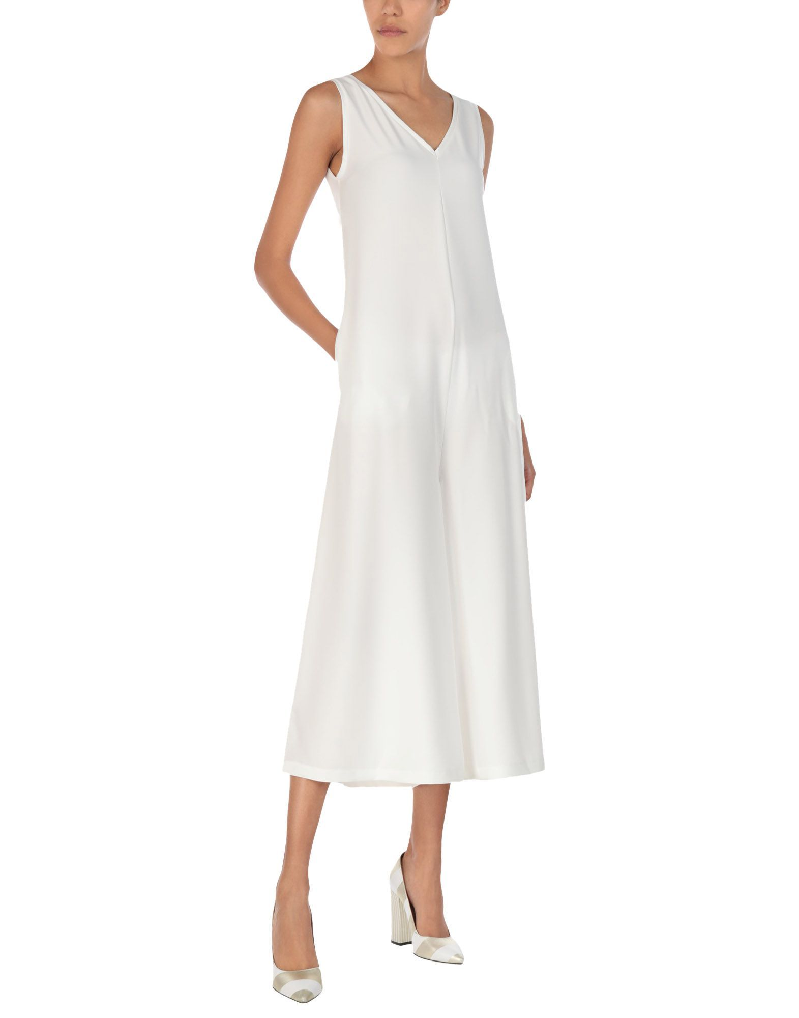 Gabardine White Crepe Jumpsuit
