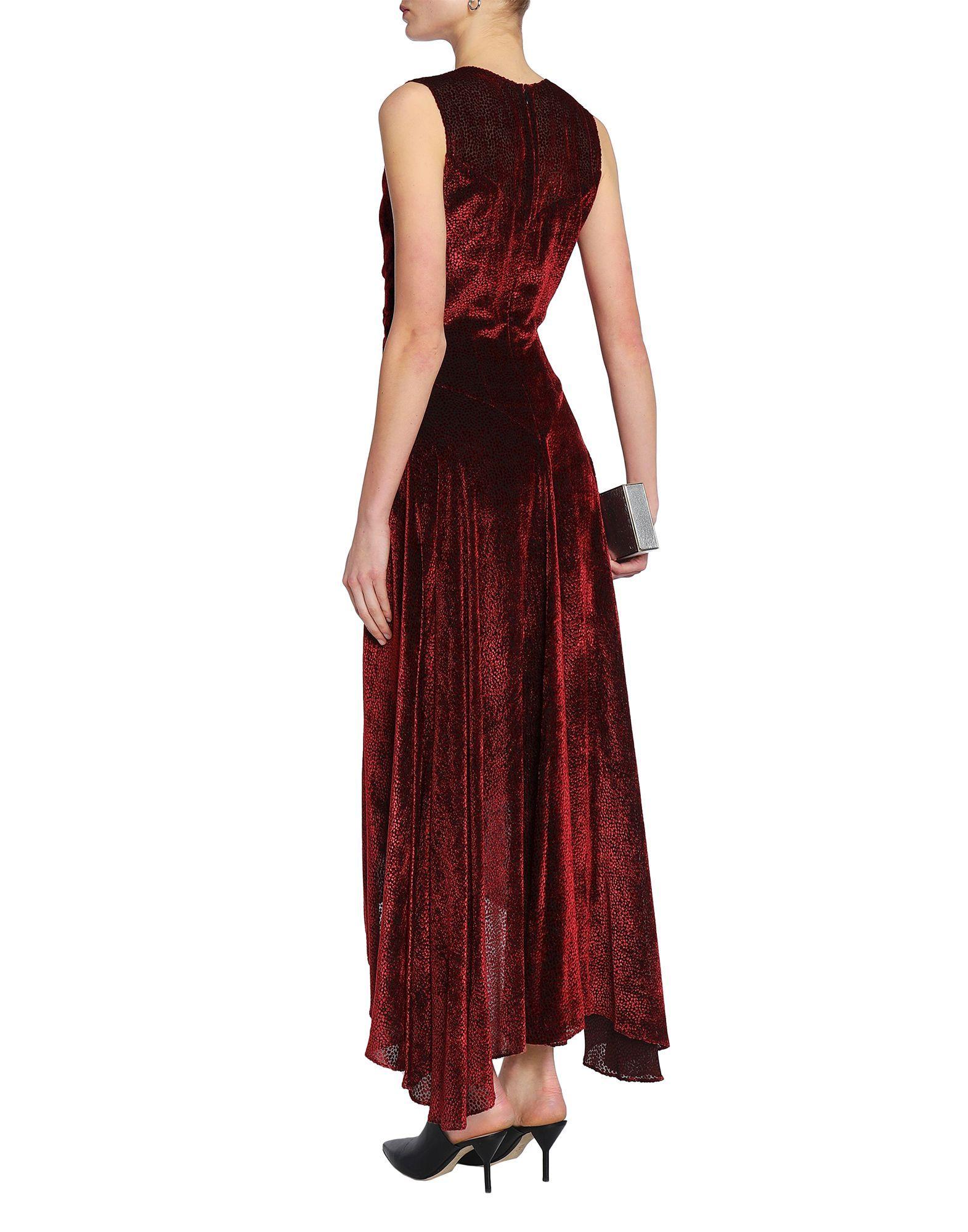 Rosetta Getty Maroon Velvet Full Length Dress