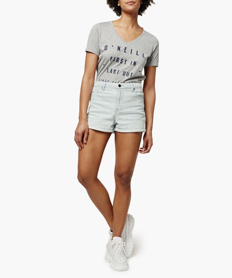 Grey printed cotton blend T-shirt