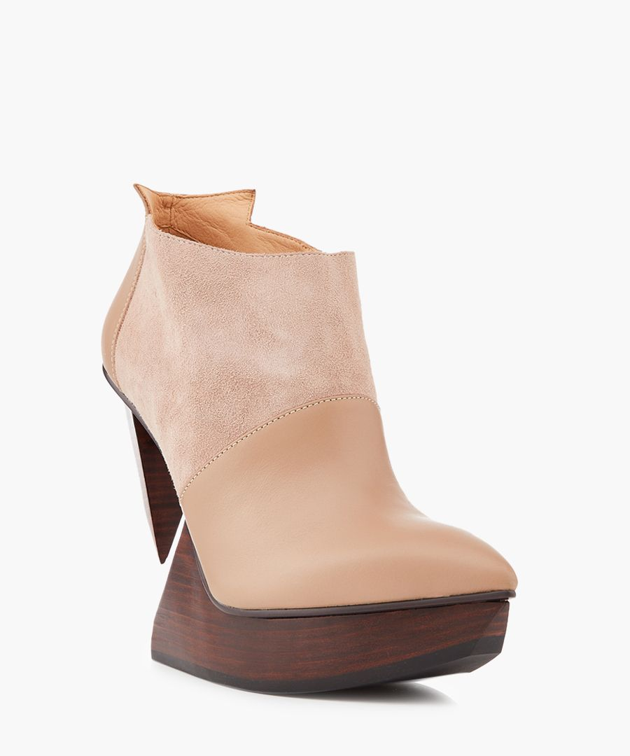 Edge blush leather & wood ankle boots