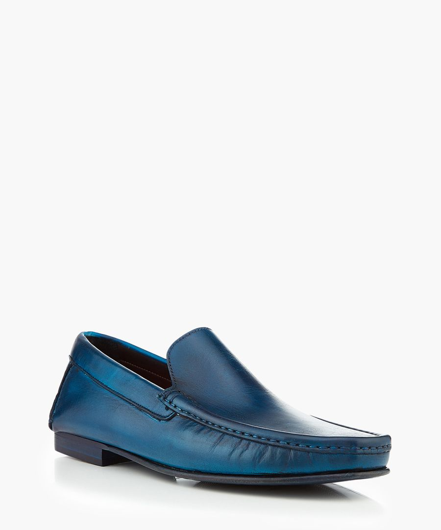 Haell blue leather loafers