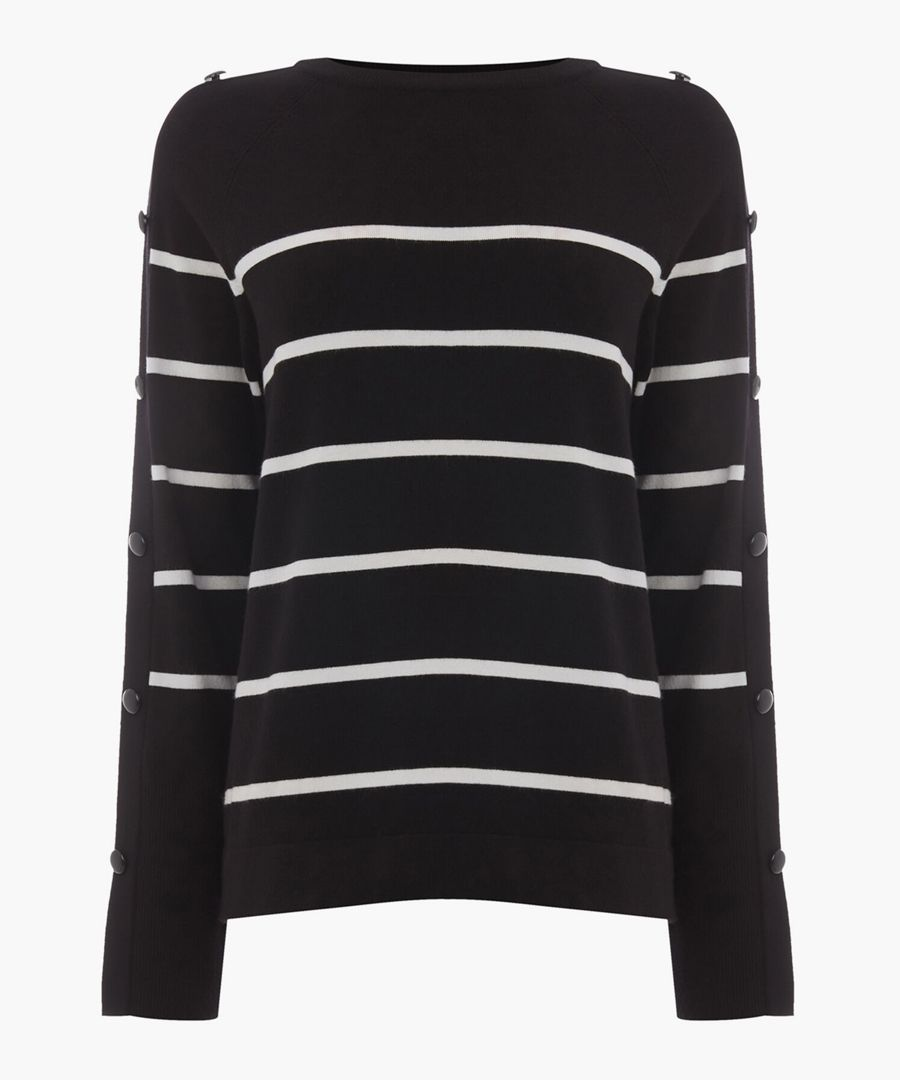 Black stripe button sleeve jumper