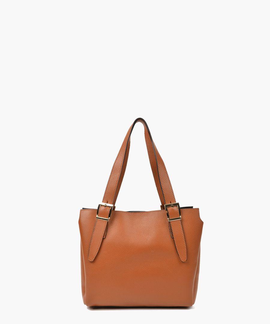 Cognac leather shopper