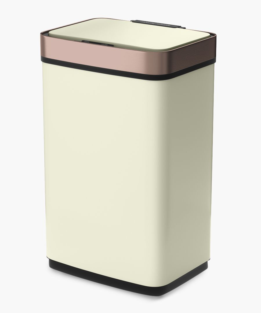 Ivory and rose-gold sensor activated bin 60L