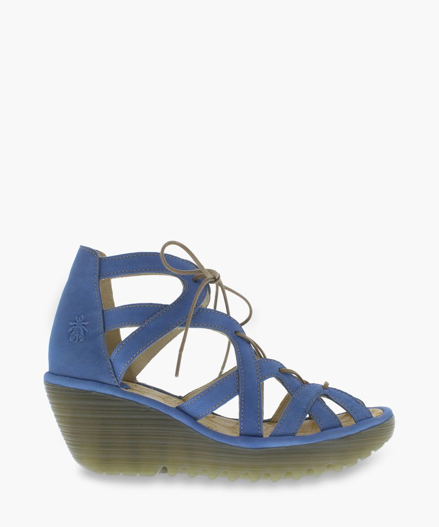 Blue leather cut-out sandals