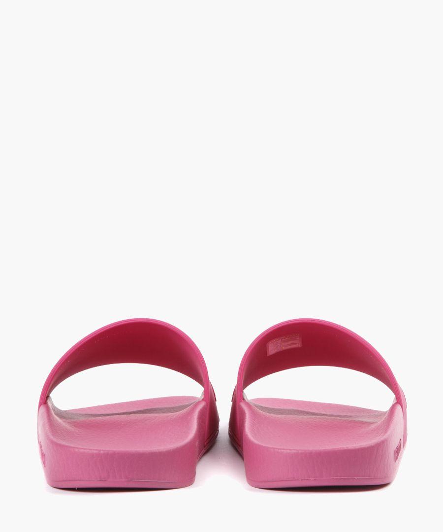 Fuchsia pink embossed logo sliders