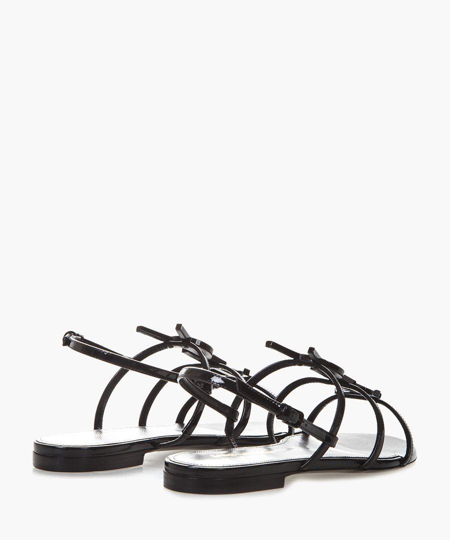 Cassandra black patent leather flat sandals