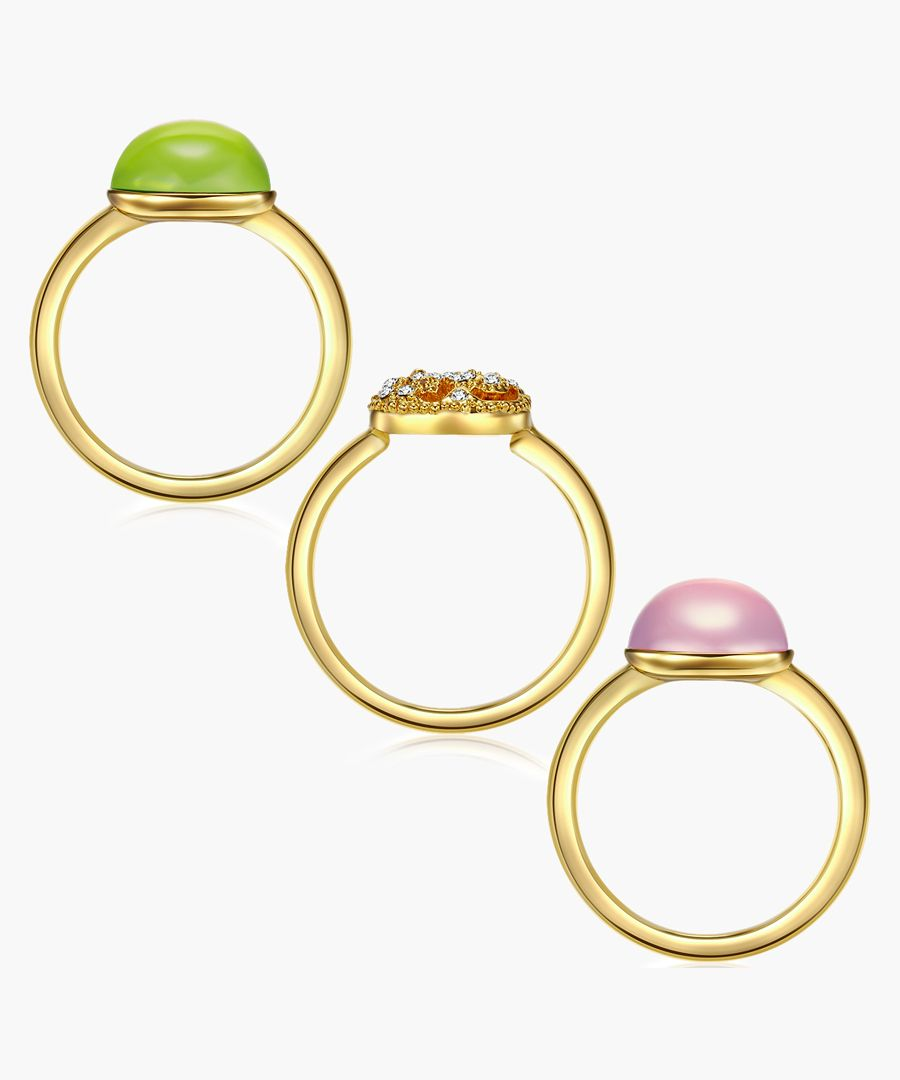 3pc gold-plated and facetted swarovski crystals ring set