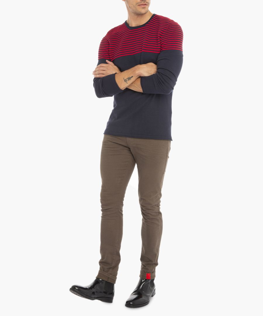 Navy and red jumper