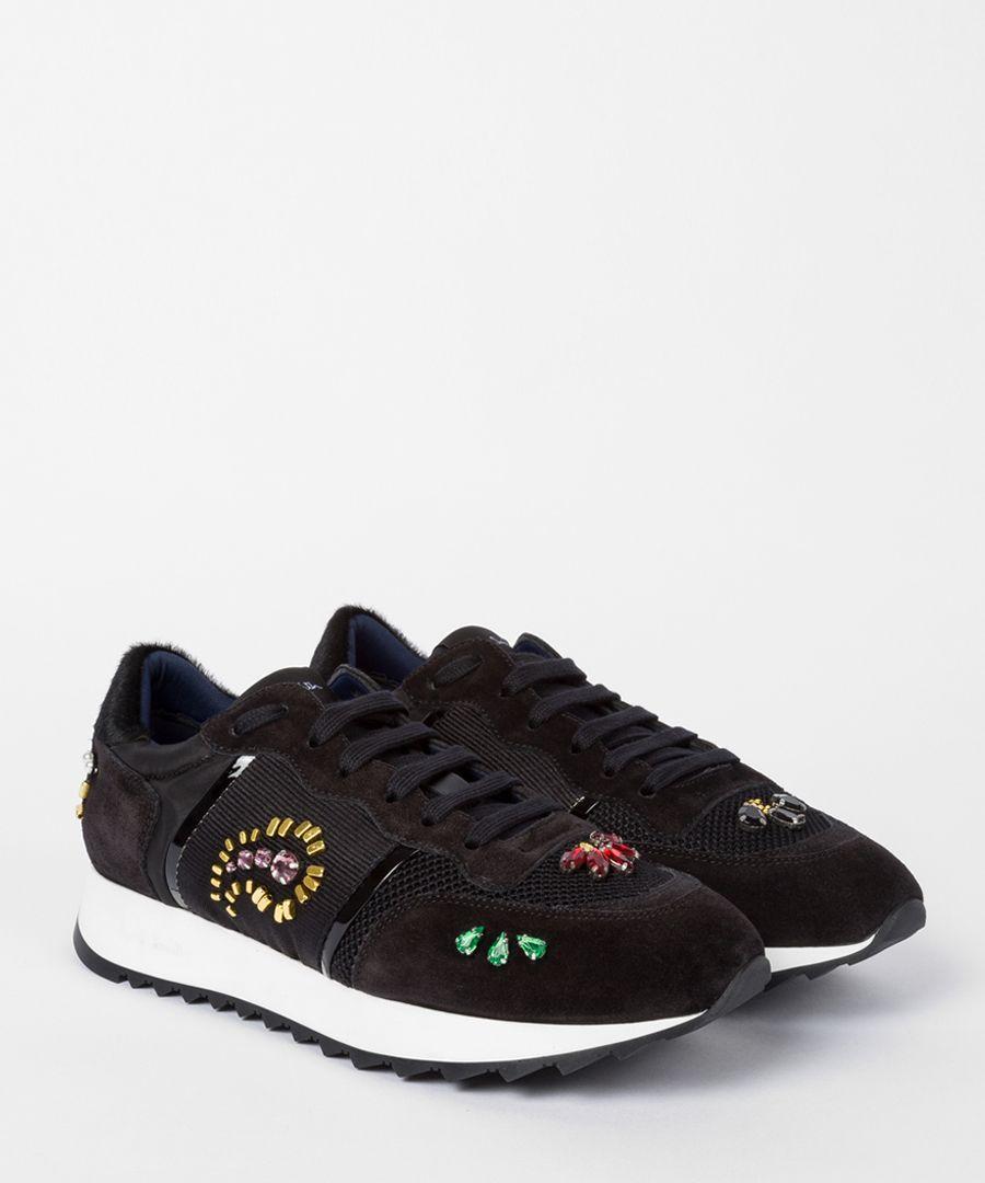 Black embellished sneakers