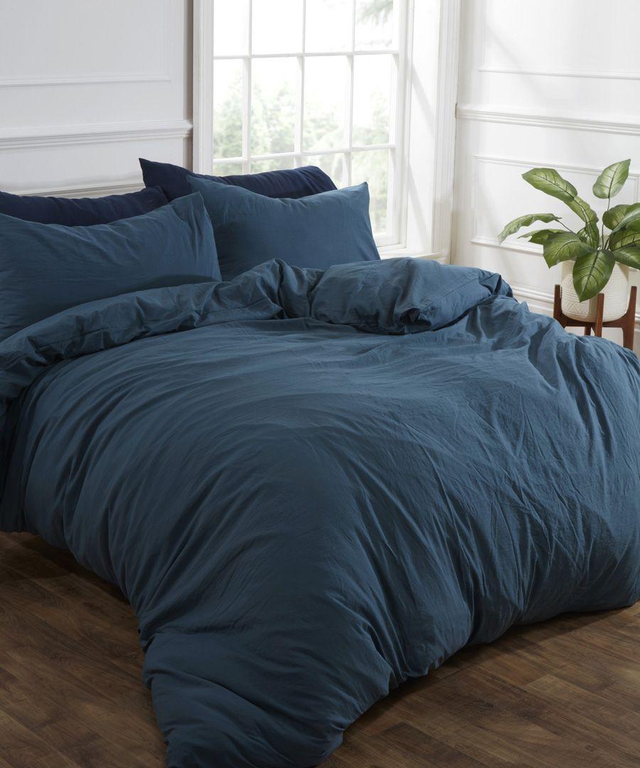 Teal washed linen-style single duvet set