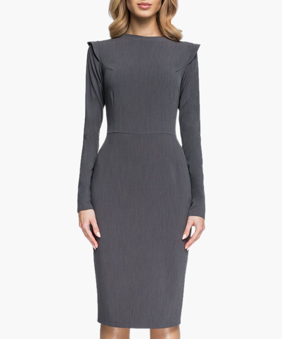 Grey pleat detail fitted dress