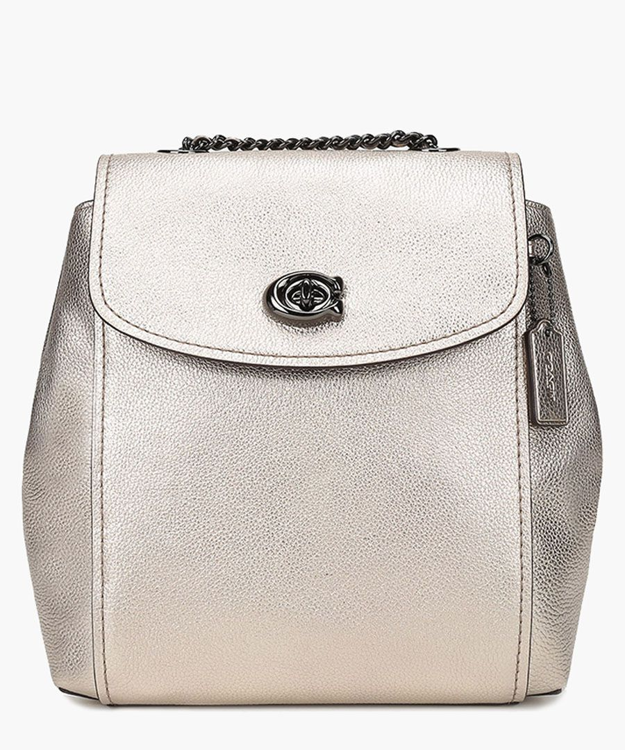 Platinum-tone leather fold-over backpack