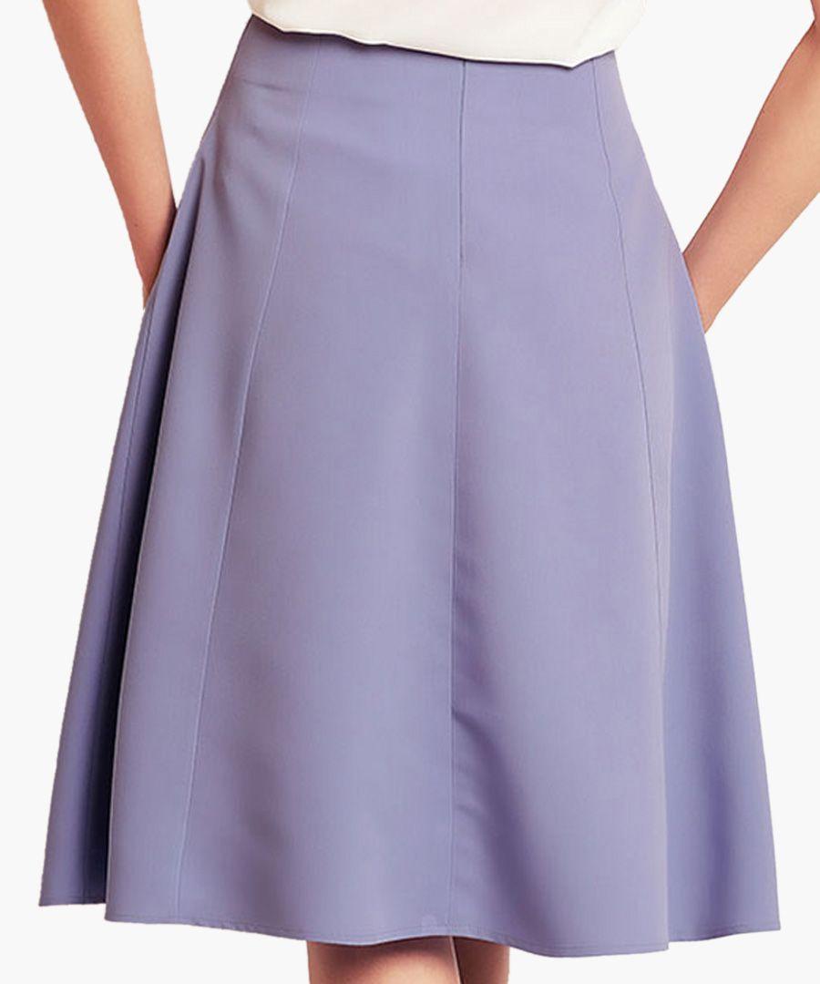 Light blue flared knee-length skirt
