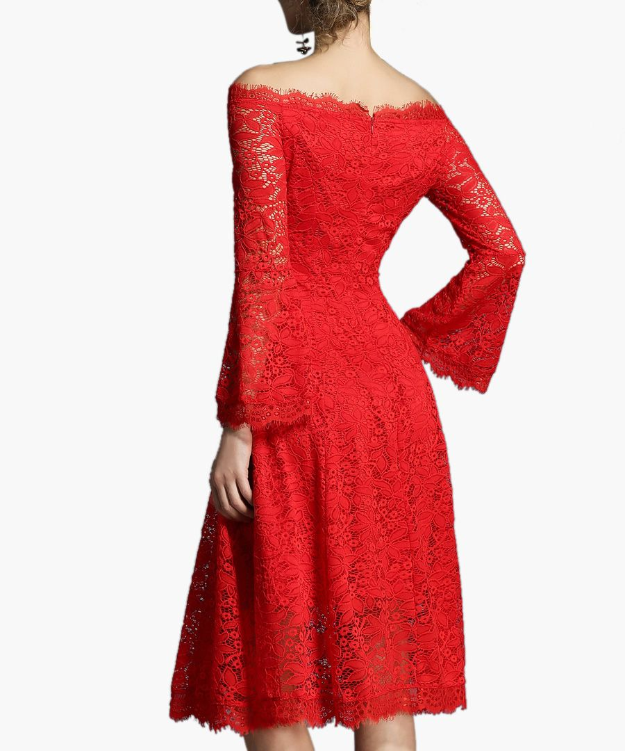 Red off-the-shoulder lace midi dress