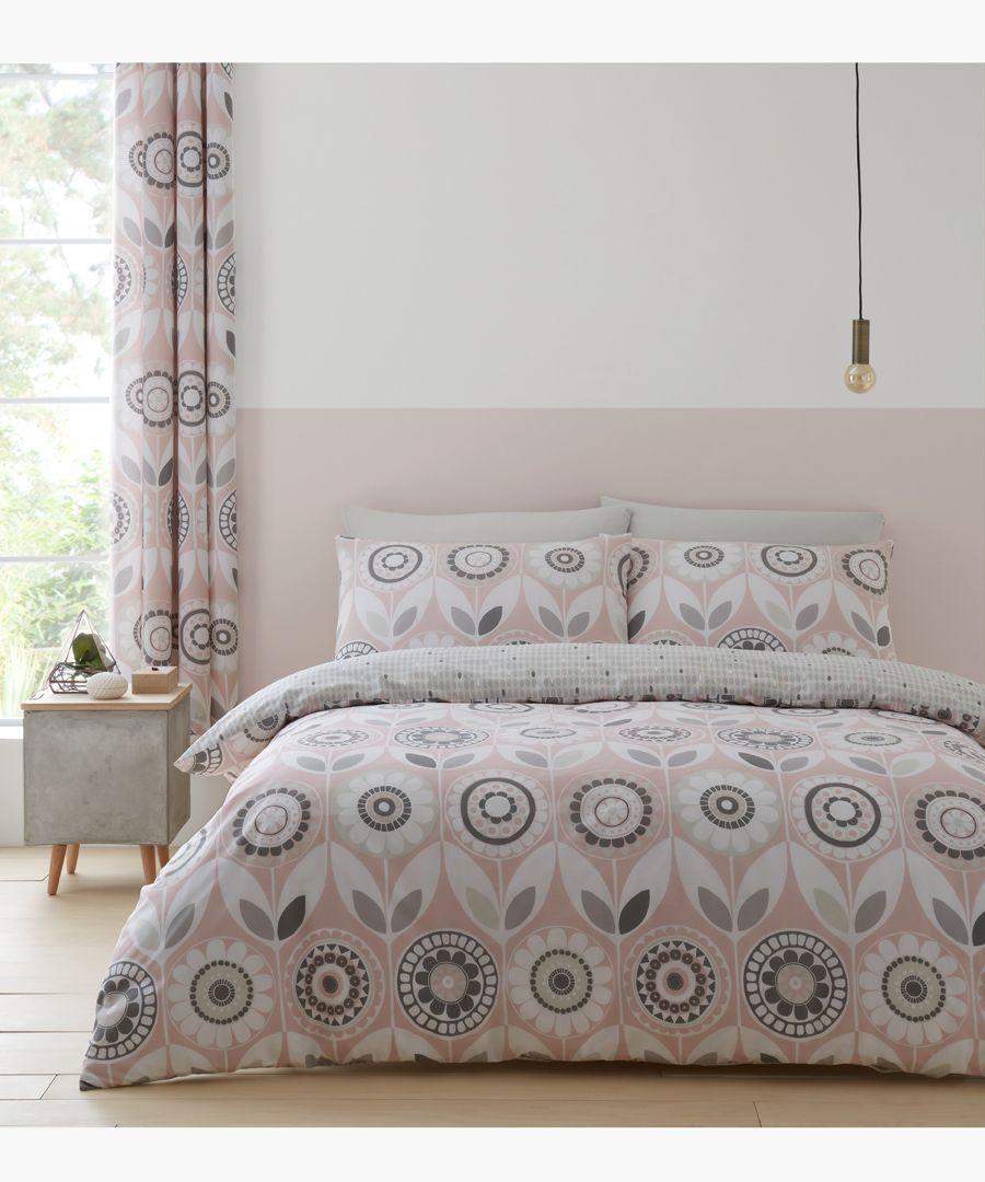 Annika pink cotton blend double duvet set
