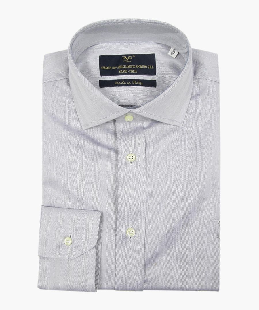 Grey pure cotton classic collar shirt