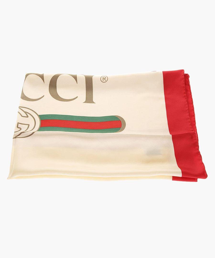 Multi-coloured pure silk logo print scarf
