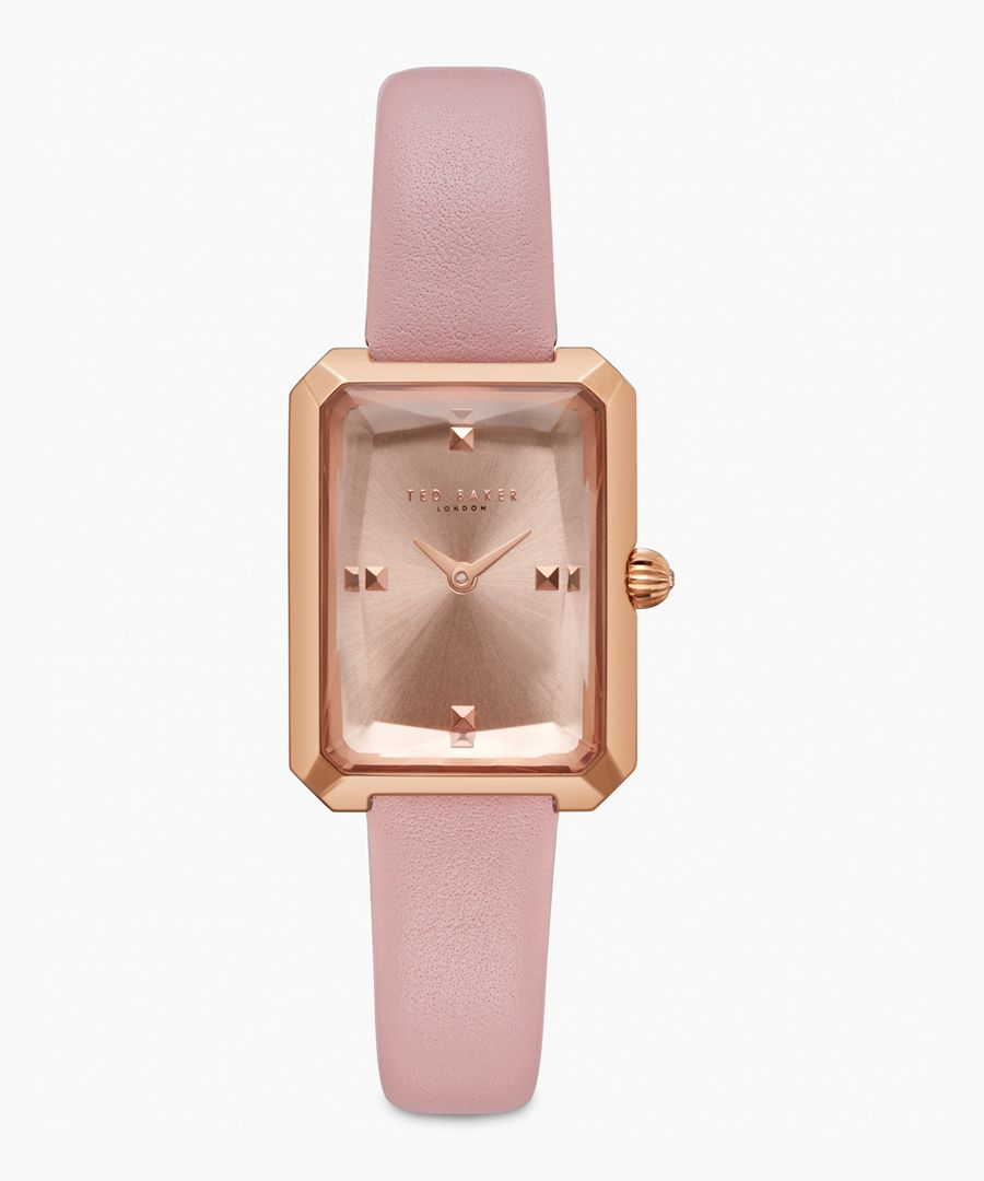Cara pink leather and stainless steel watch