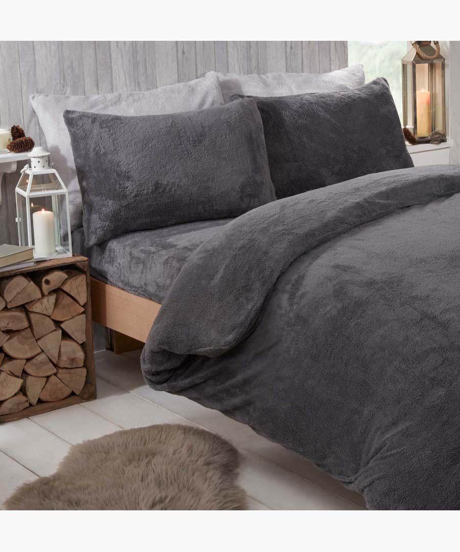 Charcoal teddy fleece super king duvet set