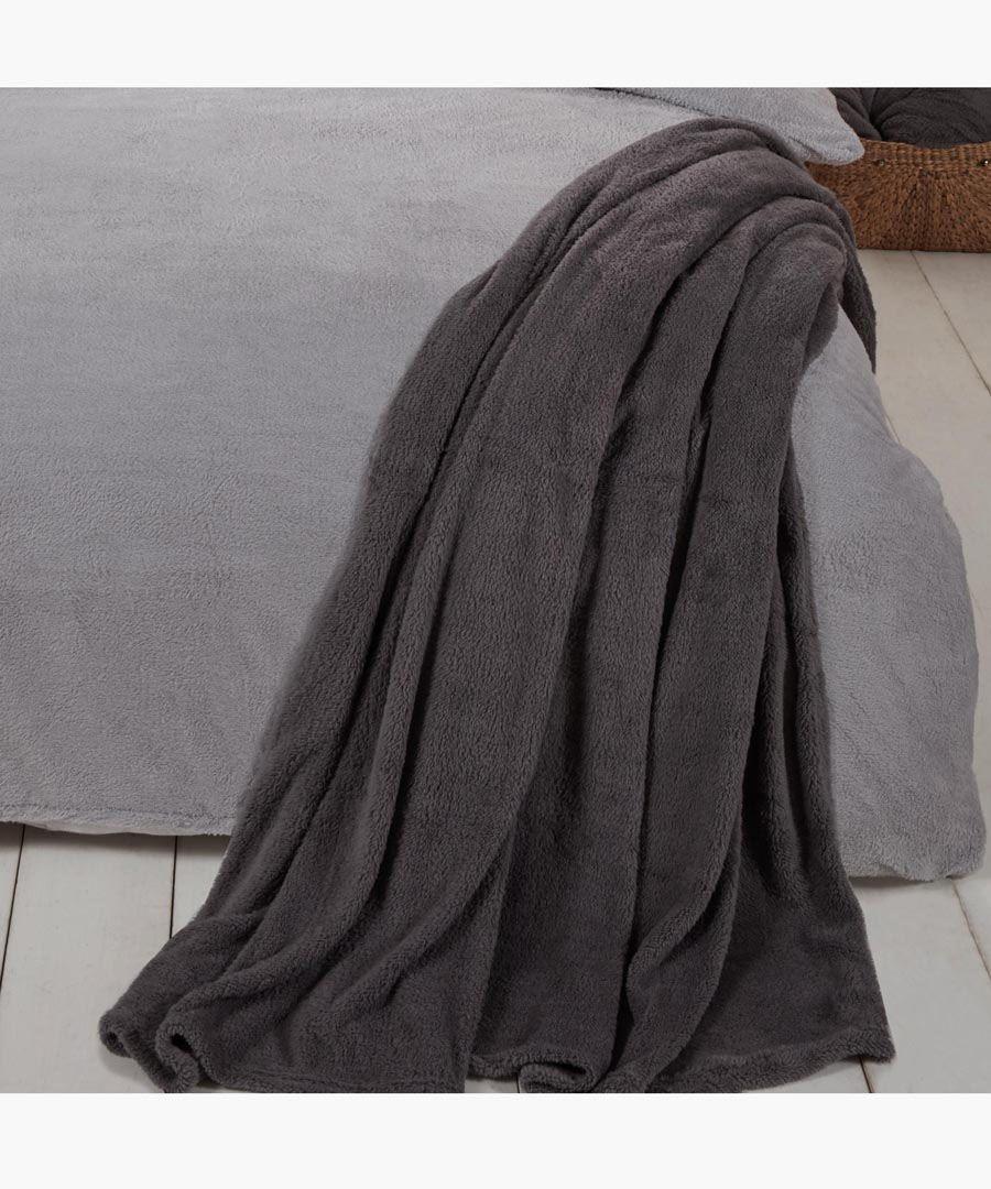 Charcoal teddy fleece throw 200x240cm