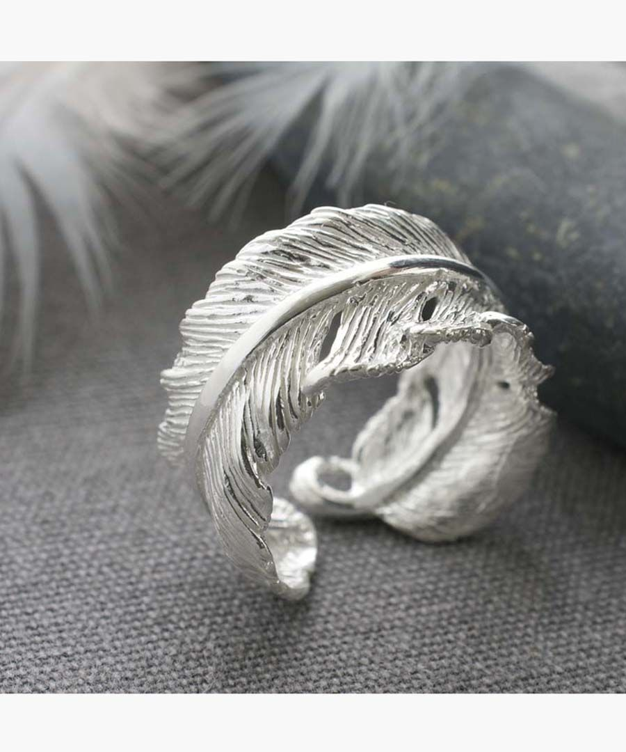 Sterling silver curled feather rings