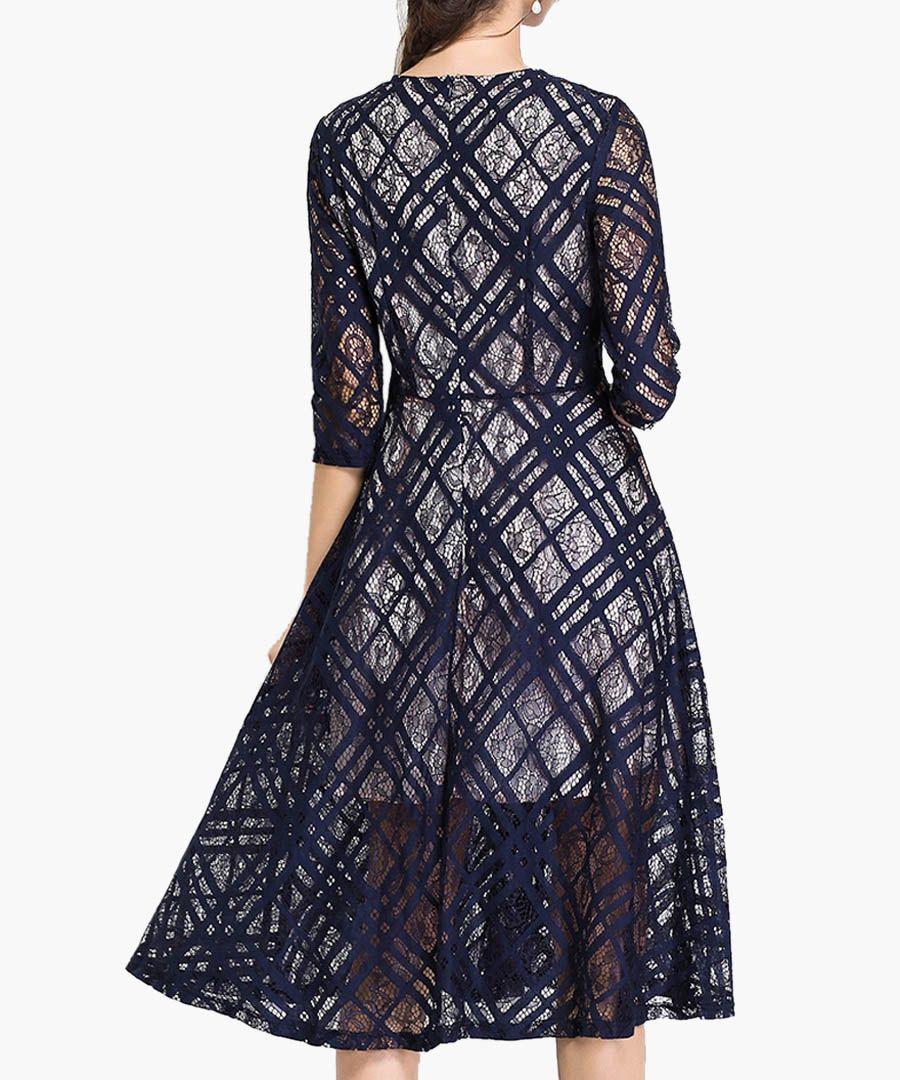 Navy print semi-sheer overlay dress