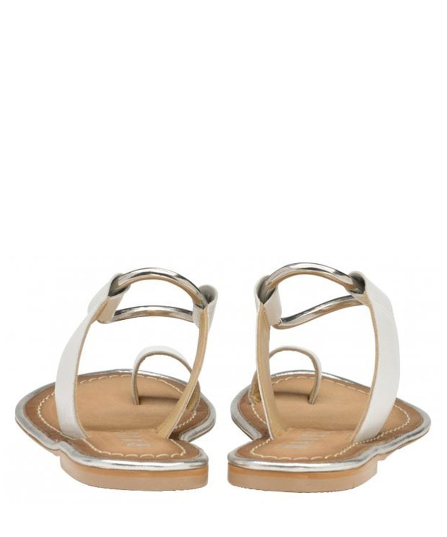 Franklin white leather flat sandals