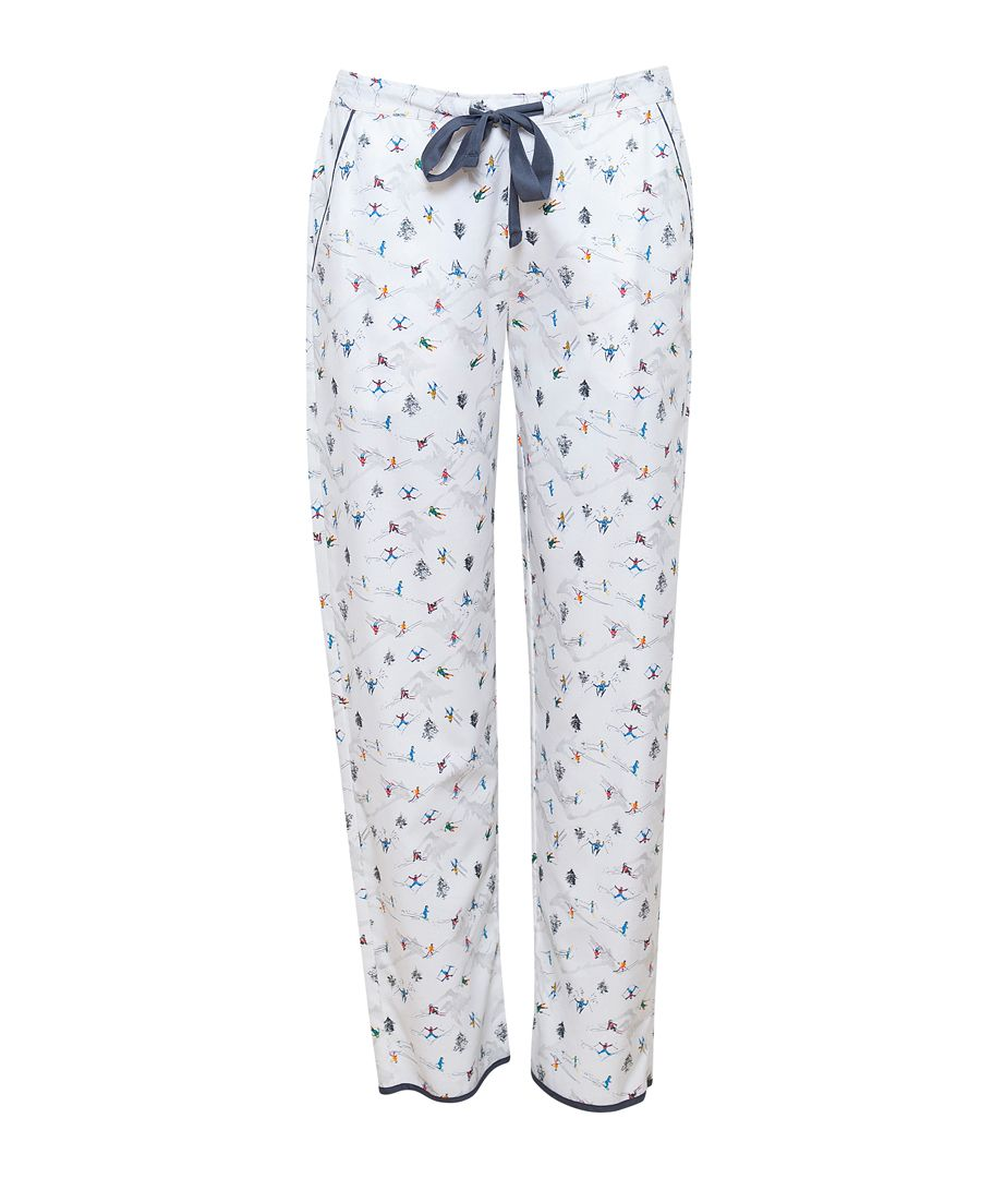 Aspen white cotton-blend ski print pyjama bottoms