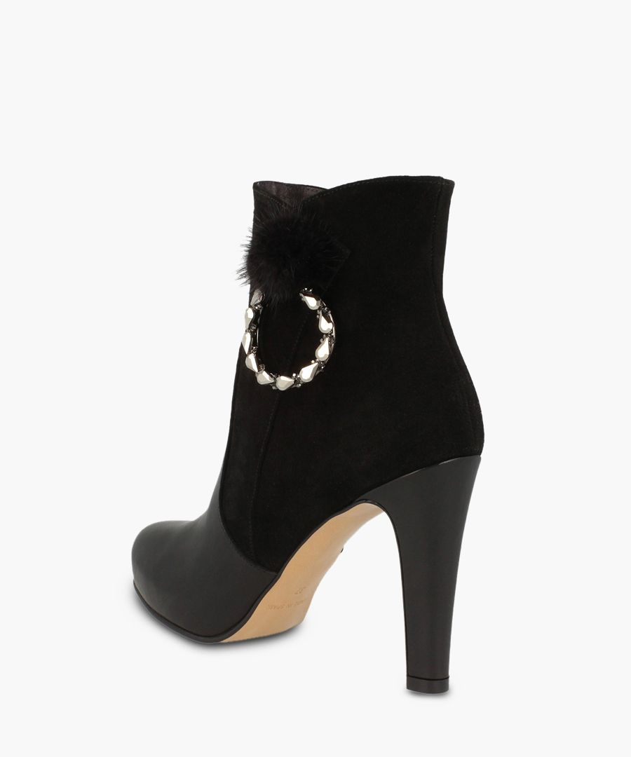 Black leather embellished ankle boots