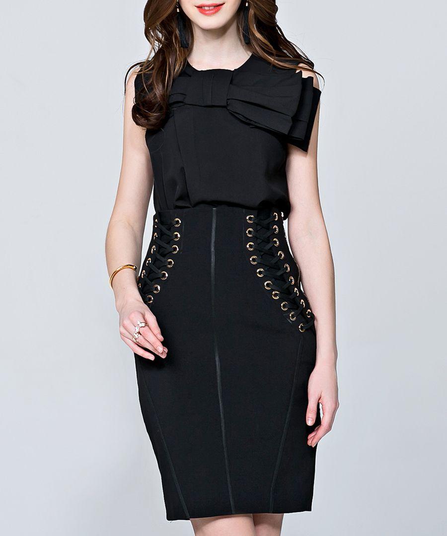 Black bow detail sleeveless blouse