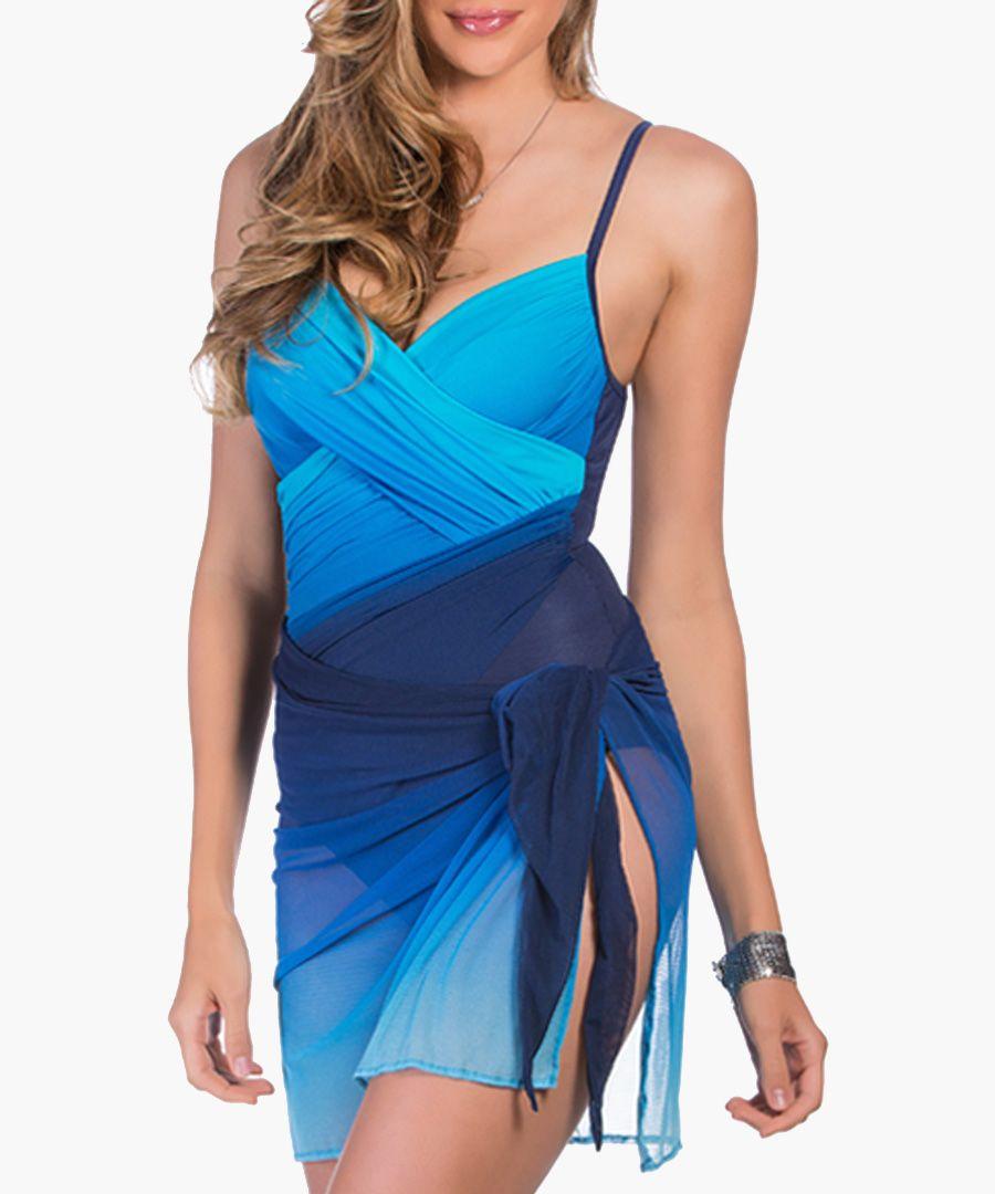 Blue dip-dye centrefold swimsuit