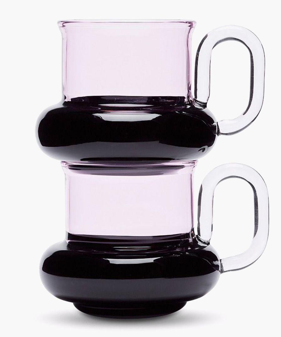 2pc Bump glass tea cup set