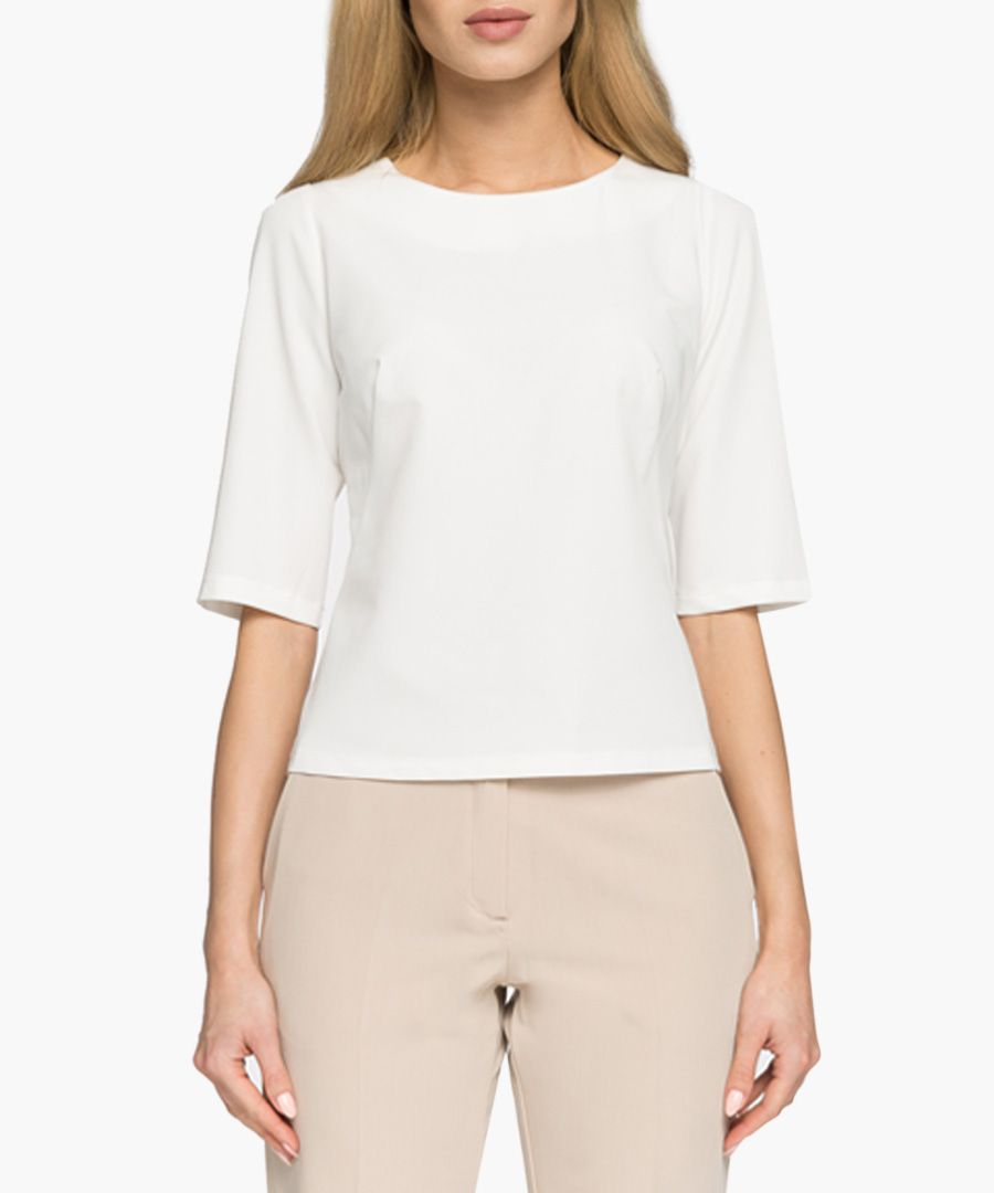 Ecru cropped sleeve top