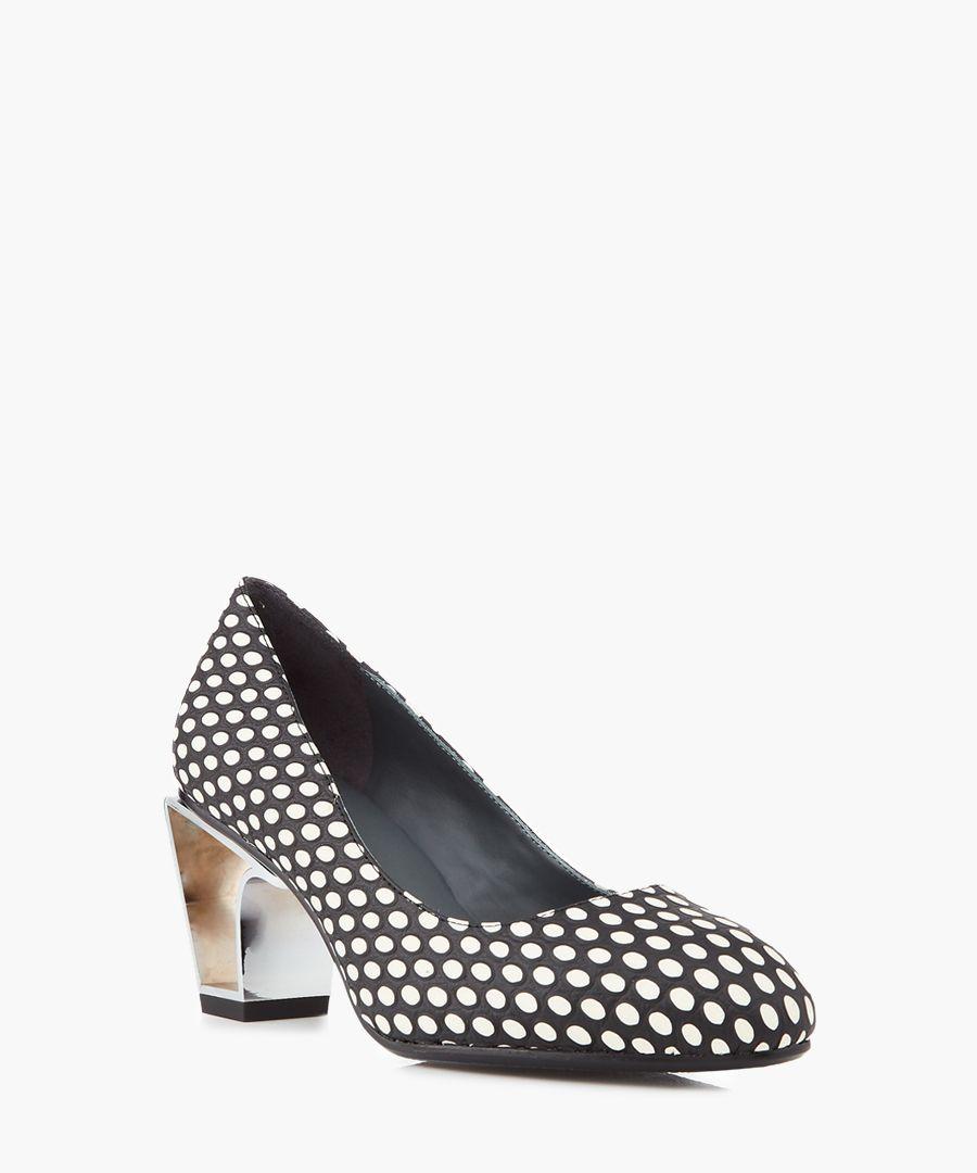 Icon monochrome leather & metal heels