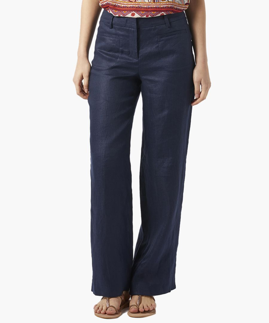 Billy navy pure linen trousers
