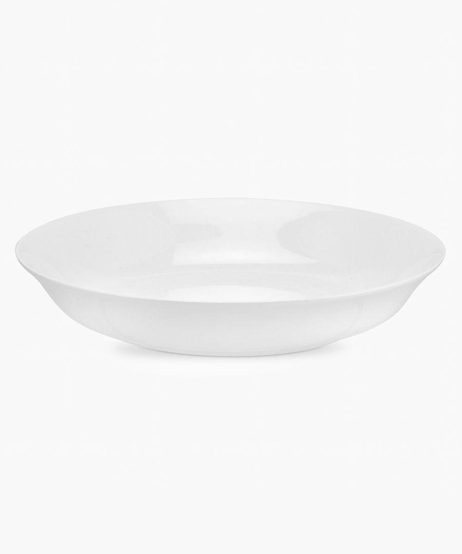4pc Serendipity plain white bone china pasta bowls