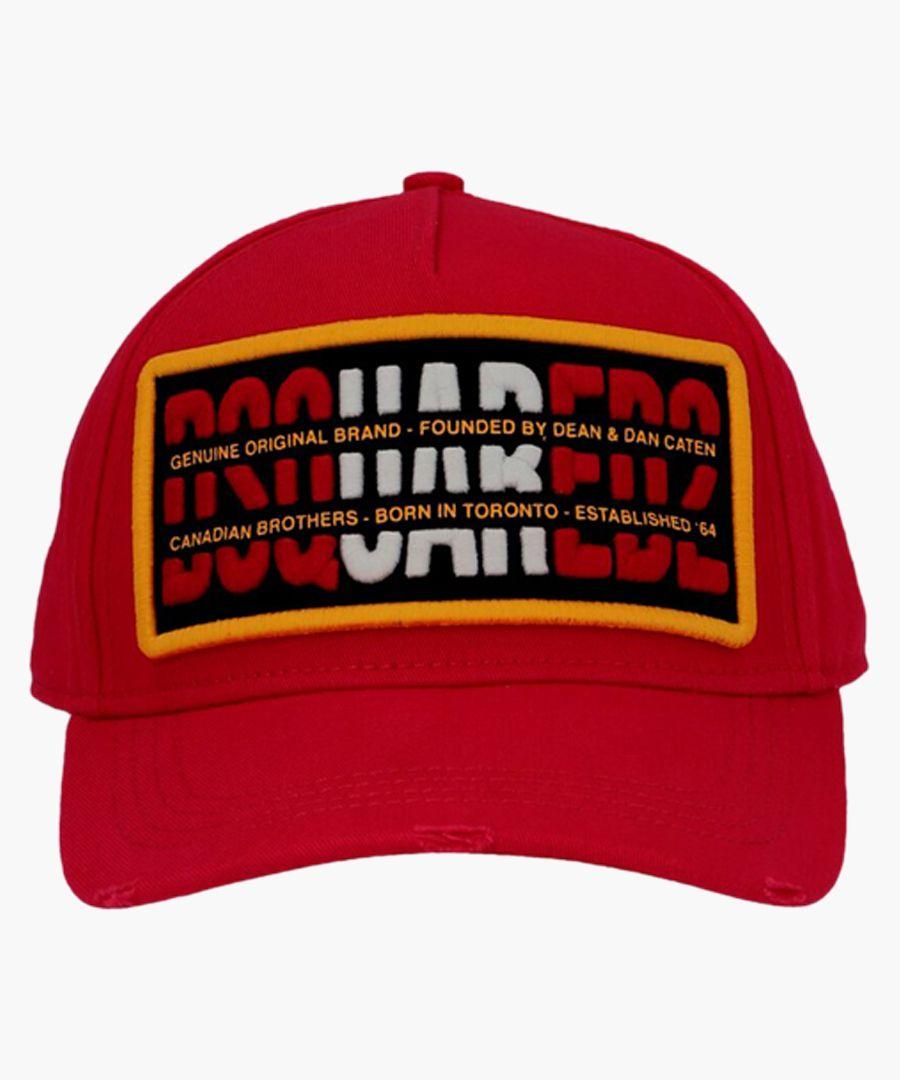 Red cotton logo patch baseball cap