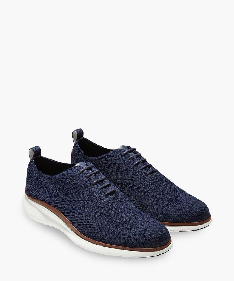 Mens blue knit Oxford shoes