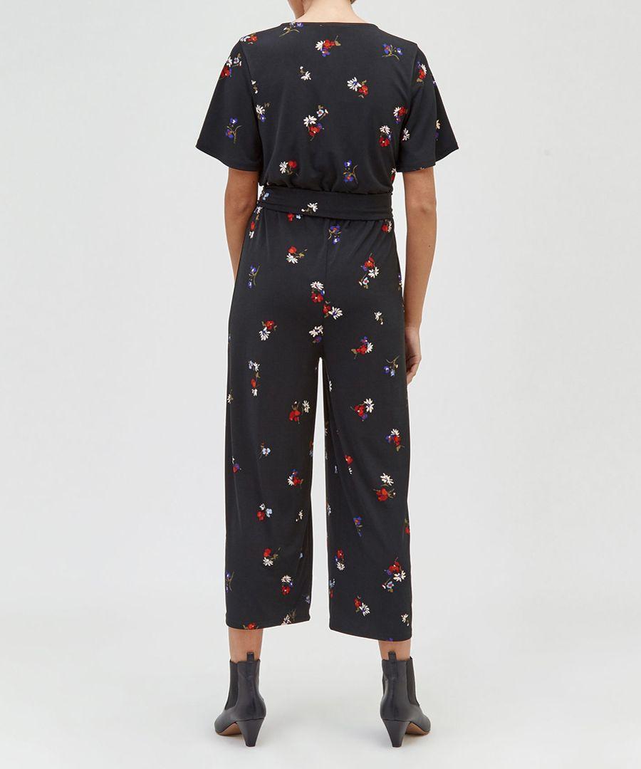 Black floral wide-leg jumpsuit