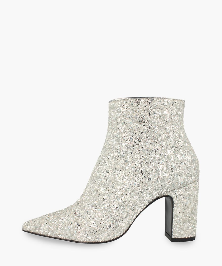Silver-tone leather ankle boots