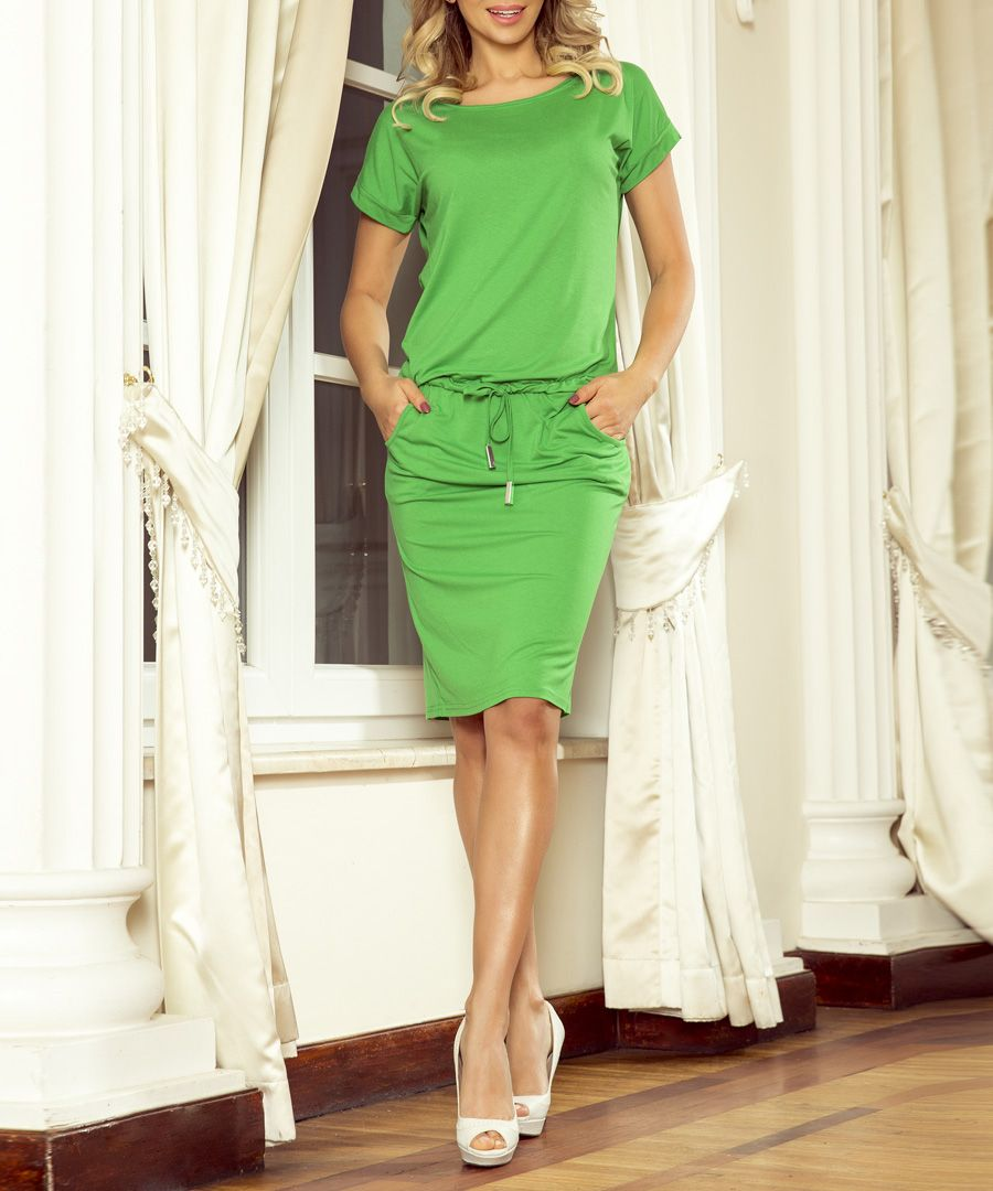 Green tie-waist knee length dress