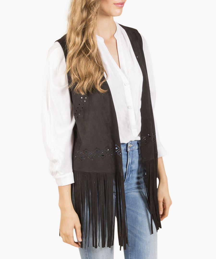 Grey suedette fringed waistcoat